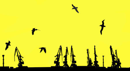 dart series:  silhouette shipyard on yellow background