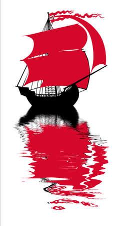 sailfish: illustrazione del sailfish con vela rosso