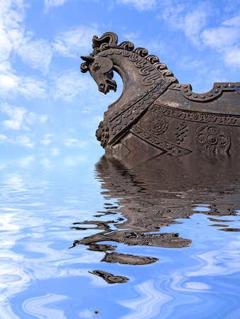 viking ship: head of the horse on ship