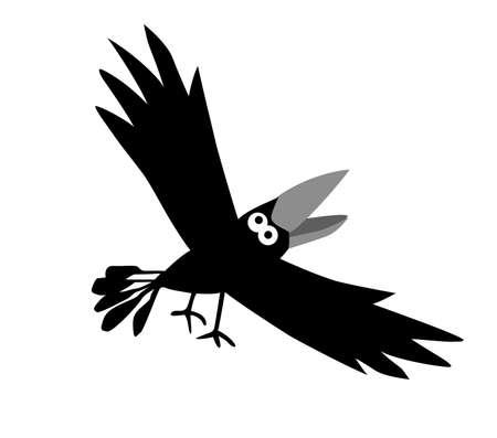 drawing ravens  on white background photo