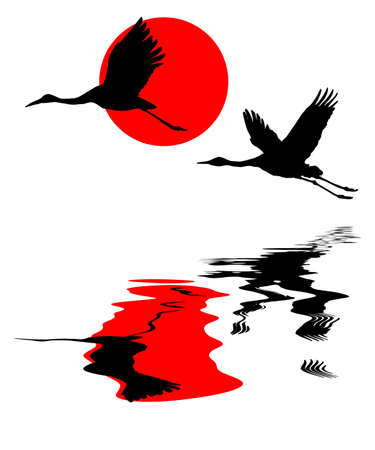 illustration of the cranes in sky on background red sun illustration
