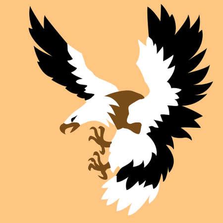 silhouette of the ravenous bird on white background  photo