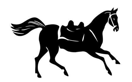 trotter: silhouette horse on white background