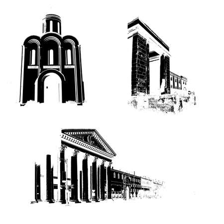 church group:  silhouette of the old-time buildings on white background