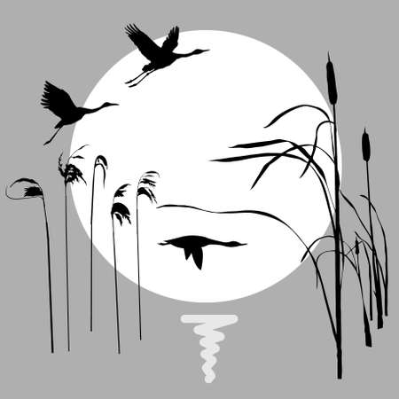 bulrush: drawing flying birds on background sun Illustration