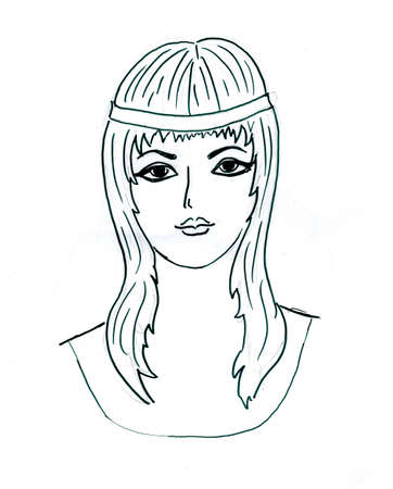 drawing of the young girl Vector