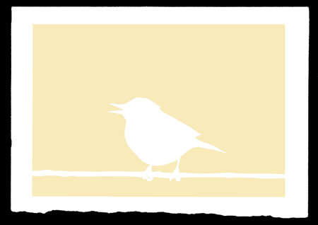drawing sparrow on branch Vector