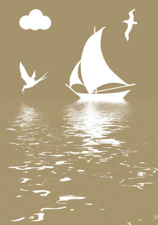 illustration sailboat in ocean Vector