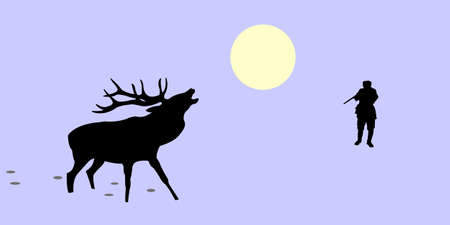 illustration of the huntsman and deer Vector
