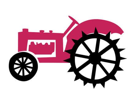 old tractor: afbeelding van de oude trekker Stock Illustratie