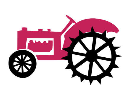 illustration of the old tractor Vector