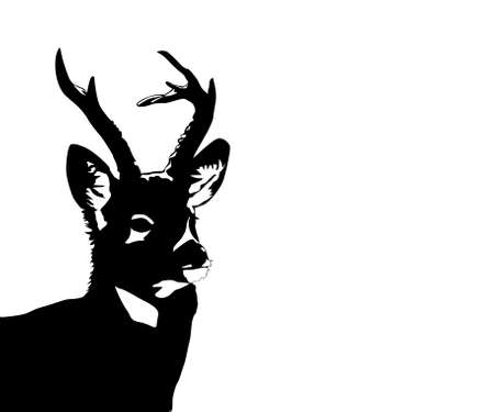 silhouette of the deer on white background Vector
