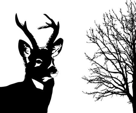 silhouette of the deer on white background Stock Vector - 7780627