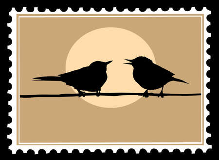 drawing two birds on branch Vector