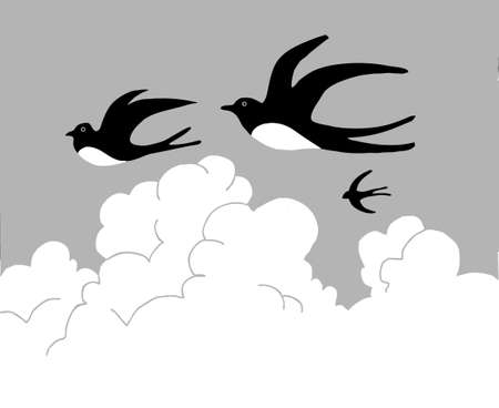 drawing swallow flying to cloudy sky Vector