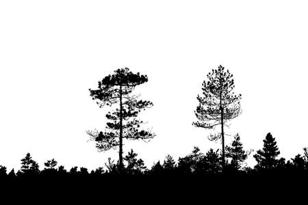 silhouette wood on white background Illustration
