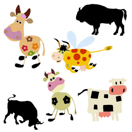 illustration of the cow on white background illustration