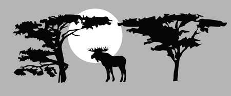 drawing moose on background sun Vector