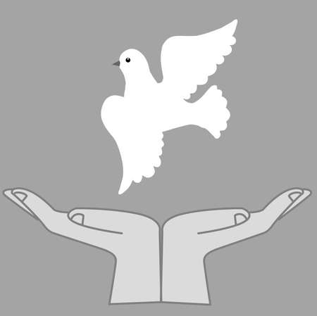 illustration of the dove in hand Stock Vector - 7830634