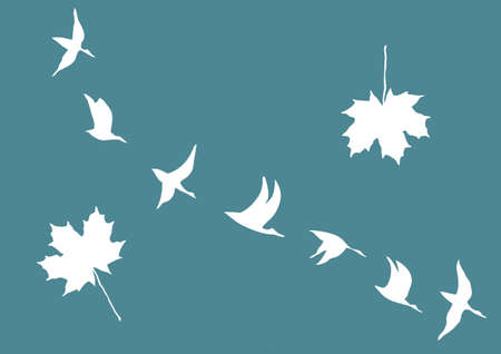 silhouettes of the cranes and maple leafs  Vector