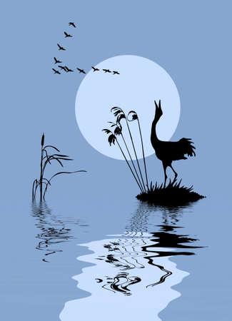 pantanos: silueta de las aves a orillas de Lago  Vectores