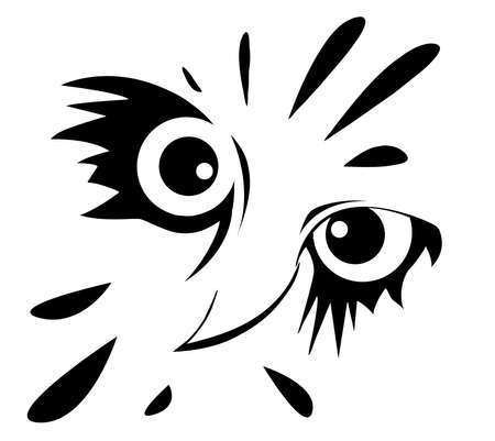drawing of the owl on white background Illustration