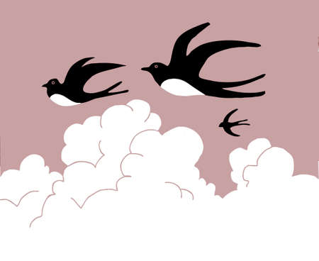 vector drawing swallow flying to cloudy sky Vector