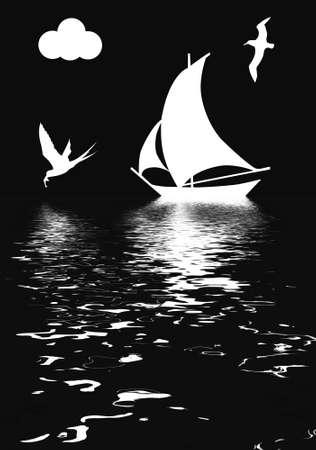 luxury yacht:  illustration sailboat in ocean