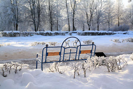 bench in winter park Stock Photo - 7939412