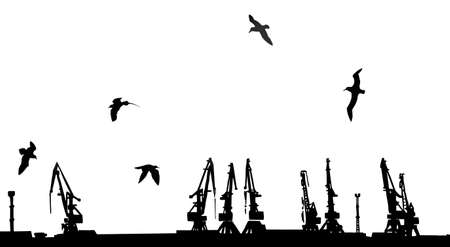 vector silhouette shipyard