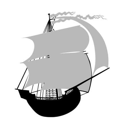 sailfish: illustrazione vettoriale del sailfish con vela rosso Vettoriali