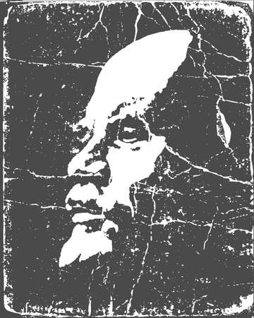 social history: vector portrait of the lenin on poster Illustration