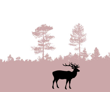 silhouette of the deer Vector