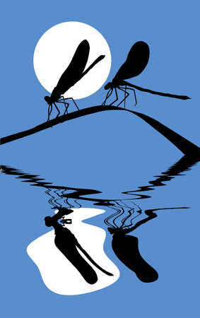 vector silhouette two dragonflies on herb Vector