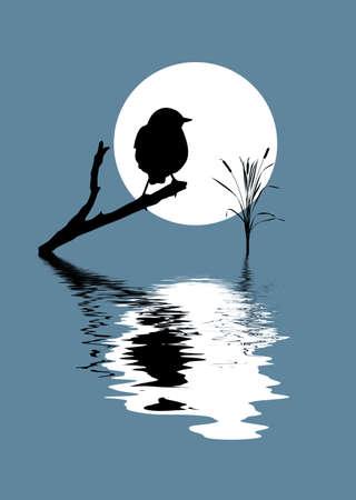 cattail: vector silhouette bird on branch Illustration