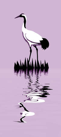 birds lake: vector drawing of the crane
