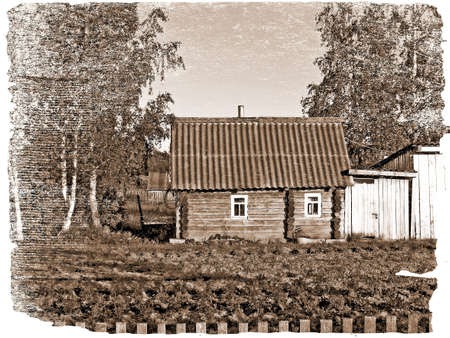 log cabin: aging photography Stock Photo