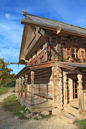 log wall: old wooden house in village