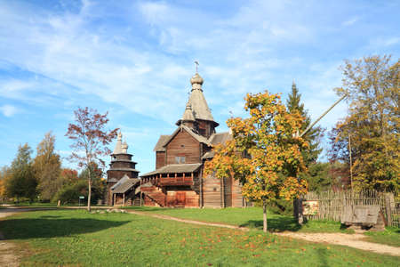 wooden orthodox chapel in village photo