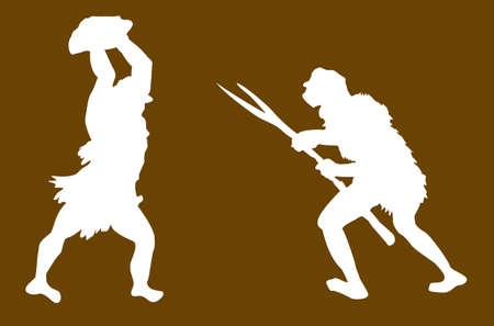 vector silhouette of the ancient person on brown background Vector