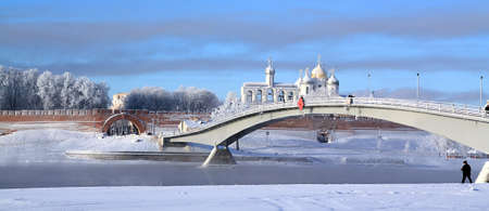 novgorod: narrow bridge through ice river