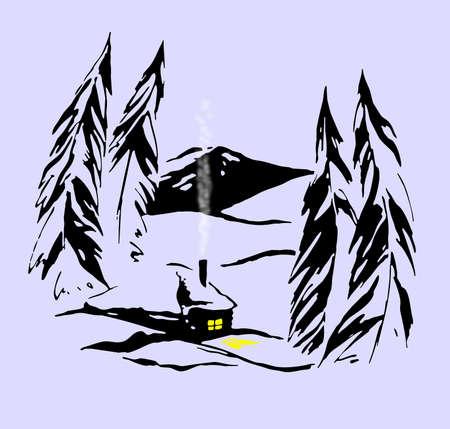 taiga: bungalow in siberian taiga