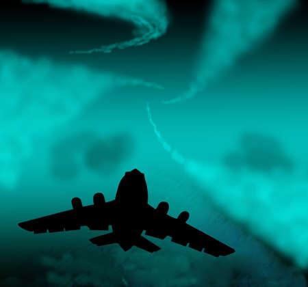 hull: plane in sky Stock Photo