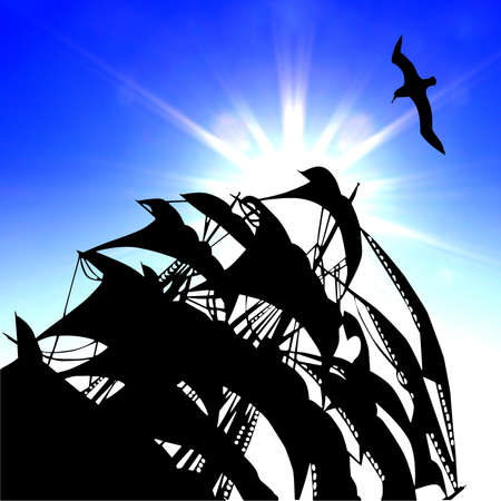 illustration of the sail on background blue sky Stock Illustration - 8174190