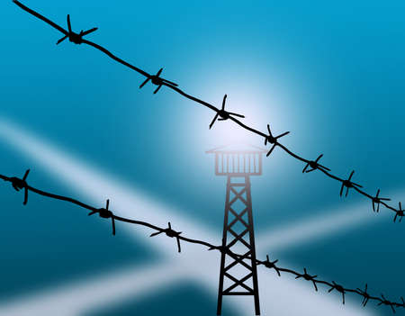 roped off: barbed wire  Stock Photo