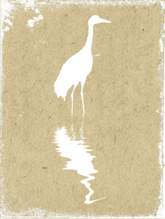 water bird: vector texture of the old paper