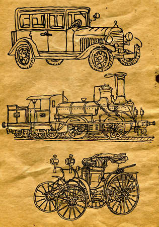 drawings on old paper Vector