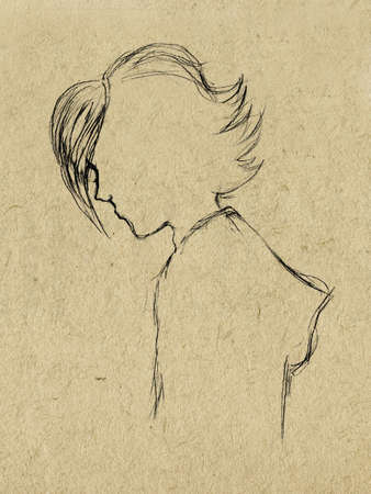 paperboard: pencil drawing on paperboard Illustration