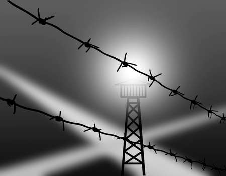 roped off: barbed wire on gray background Stock Photo