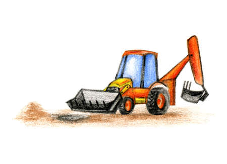 baby drawing of the excavator on white background Stock Photo - 8642027